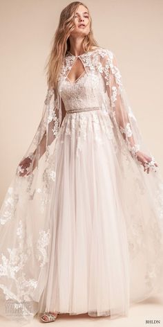 bhldn fall 2017 americana bridal floor length lace sheer wedding cape (anastasia) mv -- BHLDN Freshest Fall 2017 Wedding Looks