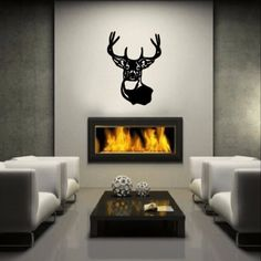 "Wall Decal Deer Head Vinyl Wall Decal 22219 This decal measures approx. 22""W x 30.5""H. The color samples shown have been reproduced and may vary slightly from actual colors due to different monitor se"