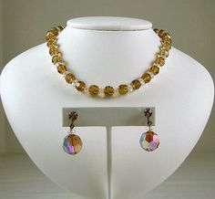 Smokey Topaz Aurora Borealis Crystal Necklace and Earring Set