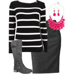 Pink Necklace, created by modest-16 on Polyvore this would make an adorable fall/winter pregnancy/maternity outfit.
