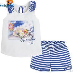 Conjunto de niña MAYORAL con camiseta y short de rayas