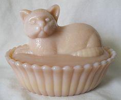 Westmoreland Almond, Pink Milk Glass Cat on Nest, Kitten Candy Box