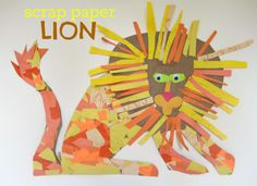 Make a giant scrap paper lion - great   for after a trip to the zoo!