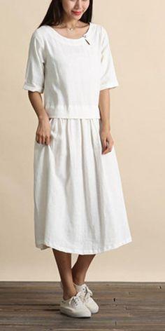 Organic O Neck Cinched Summer Tunics Tops White Maxi Dress White Linen Dresses, Cotton Dresses, White Dress, Summer Tunics, Summer Dresses, White Tops, Cotton Linen, Plus Size, Organic