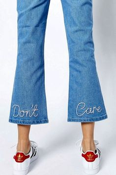 No matter where you go this season, you're bound to run into multiple pieces with embroidered details, especially bomber jackets and T-shirts. We were already obsessed with embroidered jeans, but recently discovered a pair with a cheeky message embroidered into the back of the legs that made us laugh: Don't care.