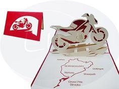 Aufklappbare POP UP Grußkarte eines Motorrads mit Landkarte. Mehr entdecken auf: www.lin-popupkarten.de