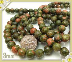1 Full Strand Salmon Moss Unakite Gemstone Beads 8mm by sugabeads, $4.50