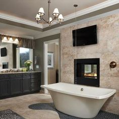 "Now this is what we call ""Luxury"" -  Ceiling Faucet Bathroom Jacuzzi Cranbrook Custom Homes"