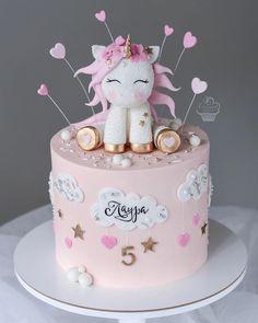 Girly Birthday Cakes, Baby Girl Birthday Cake, Baby Girl Cakes, Sweet Cakes, Cute Cakes, Unicorn Head Cake, Whiskey Cake, Cute Baking, New Cake