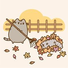 """Stormy loves """"helping"""" with the autumn chores. Who doesn't love jumping in a pile of leaves? #Pusheen #pusheenbox"""