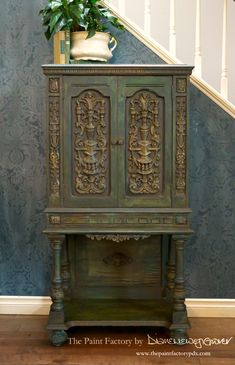 A refinishing business aiming to make period furniture look authentic, not upcycled. Small Storage Cabinet, Traditional Paint, Wise Owl, Painted Furniture, Repurposed, Blue And White, Black, Carving, Antiques