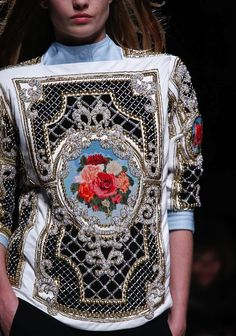 Detail. Balmain Fall 2012. Inspired by Elizabeth Taylor's Faberge Egg.