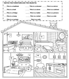 Resultado de imagem para parts of the house exercise Spanish Lessons, English Lessons, Math Lessons, Learn English, English Resources, English Activities, Alphabet Coloring Pages, Coloring Book Pages, Phonetic Chart
