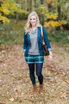 Cozy Cable & Plaid Shorts: gray cable sweater, denim blazer, wool plaid shorts, navy tights, suede ankle booties