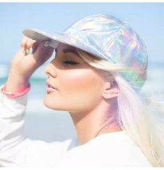 Aerie Holographic futuristic Iridescent baseball Cap Hat Adjustable back NWOT Visual Kei, Holographic Fashion, Iridescent Fashion, Holography, Creepy, Pastel Grunge, Punk, Hair Makeup, Cute Outfits