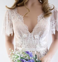 Lace Wedding Dress/ Unique Wedding Dress/ Boho Wedding Dress/