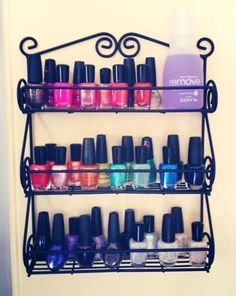 Are you a nail polish junkie? Use a spice rack to contain all those bottles. Spice rack via Amazon