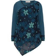 Isolde Roth Petrol / Multicolour Plus Size Asymmetric floral jumper ($105) ❤ liked on Polyvore featuring plus size women's fashion, plus size clothing, plus size tops, plus size sweaters, petrol, plus size, plus size long sleeve tops, blue jumper, drape sweater and blue v neck sweater