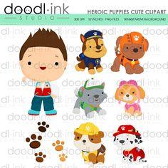 SALE 50% Heroic Puppies Cute Digital Clipart / by DoodlinkStudio