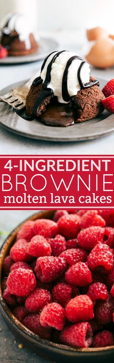 4-Ingredient Brownie Molten Lava Cakes -- gooey miniature cakes (made in a muffin tin) filled with oozing chocolate and flavored like a brownie!