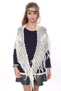 Floral White Knit Poncho