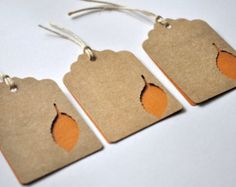 12 Orange Leaf Gift Tags - Pre Strung with Jute String.