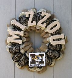 MU Burlap Wall Decor MIZZOU In Wooden Letters With Textured Paint That Looks Like Rock