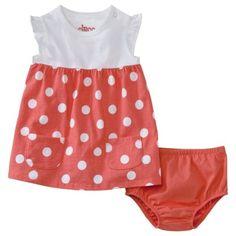 Circo® Newborn Girls Short-Sleeve Dot Dress - Orange