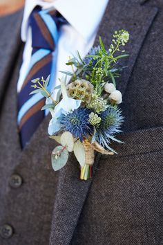 Natural Thistle Blue Groom Buttonhole Quaint Rustic Seaside Windmill Wedding Norfolk http://www.fullerphotographyweddings.co.uk/