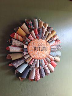 Mrs Crafty Adams   Hello Autumn Wreath :: double sided scrapbook paper