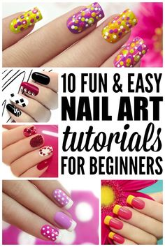 If you love all of the nail art ideas for summer that are floating around Pinterest these days, but don't know the first thing about adding polka dots, stripes, and other designs to your manicure, this collection of fun and easy nail art tutorials for beginners is for you!