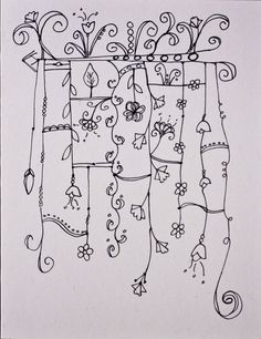 zentangle - floral lines Tangle Doodle, Tangle Art, Zen Doodle, Doodle Art, Doodle Designs, Doodle Patterns, Zentangle Patterns, Doodle Borders, Zentangle Drawings