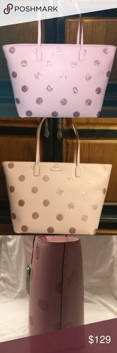 New Authentic Kate Spade Margaret Tote Haven lane Margaret's pink with sparkly dots . Brand new never used and has tag still on . Has zipper close on top . Has one zip pocket and two open pockets. Height is 11 1/2 ., width 20 inch , handle drop is 26 inches . Top opening is about 18 inches .. No Trades kate spade Bags Totes