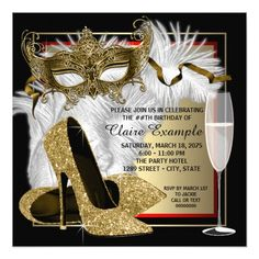 Masquerade Party Invitations Womans Red and Gold Masquerade Party Card