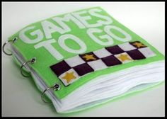 You Can Make This' felt 'games to go' book.  Great for travel.  (checkers, squares, Othello, memory, and tic-tac-toe) #kids #activities #games #car #diy