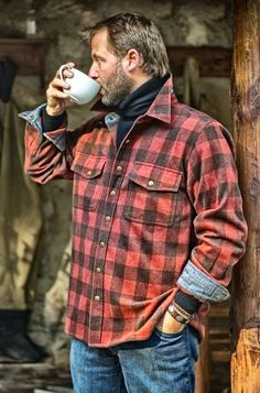 Morning cup of joe, preparing for a flight. Rugged and rustic  I'M A LUMBER JACK AND I'M OKAY...I WORK ON WOOD, AND  LIKE TO PLAY...SANS THE FULL ON BEARD...NOT SO MUCH THE HIGH TURTLE NECK, JUST THE COZY FEEL OF HIM...