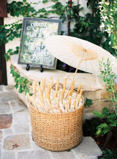 Wedding umbrellas: http://www.stylemepretty.com/2014/11/20/colorful-summer-wedding-at-the-villa-san-juan/   Photography: Ray Kang - http://raykang.com/