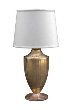 Stefano Table Lamp - Cast Resin w/Interior Silvering  Overall: 15 diameter x 30h Shade: 15 diameter x 12h