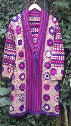 Colorful crochet coat Crochet vest Bohemian style by Fokkiewooh