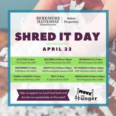 Complimentary shredding of your sensitive documents. April 22, 2017. Bring your sensitive documents to be professionally shredded compliments of Berkshire Hathaway HomeServices Select Properties. 1000 Schnucks Woodsmill Plaza, Town & Country, Mo 63017  #StLouis #TownAndCountryMo