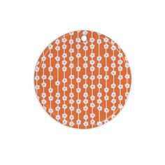"Heidi Jennings ""Orange You Cute"" Tangerine White Ceramic Circle Ornament"