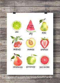 Galatians 5:22 | The Fruit of the Spirit | fruit watercolor | typography Scripture print | Instant download| Bible verse wall art by SouthPacific on Etsy
