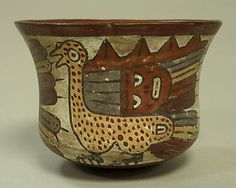 Painted Bowl with Birds Date: 1st–4th century Geography: Peru Culture: Nasca Medium: Ceramic, pigment Dimensions: Height: 3 1/2in. (8.9cm) Diameter: 4 9/16in. (11.6cm)