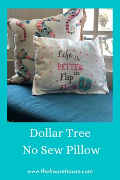 Check out how I took this cute dish towel and turned it into a cute pillow, without a sewing machine.