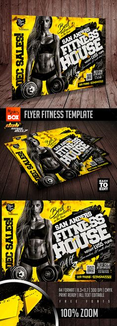 Flyer Fitness Template — Photoshop PSD #11.7x8.3 • Available here ➝ https://graphicriver.net/item/flyer-fitness-template/20900627?ref=pxcr