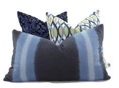 Navy Indigo and Light Blue Stripe Pillow Cover by ThePillowSpot