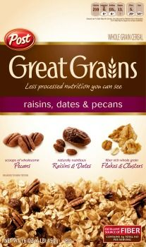 Post Great Grains Raisins, Dates & Pecans Whole Grain Cereal, 16 Ounce Gourmet Recipes, Dog Food Recipes, Cereal For Diabetics, Great Grains, Whole Grain Cereals, Walmart, Nutrition, Breakfast Cereal