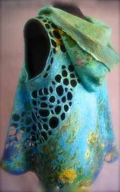 Under the Sea Nuno Felted Hoodie Vest