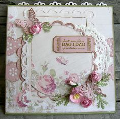 Rose, butterly, doilies, card