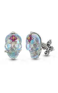 Roses Never Die Skull Cufflinks – Abalone Doublet & Rhodolite – Barbara Bixby   these would be awesome made into earrings!!